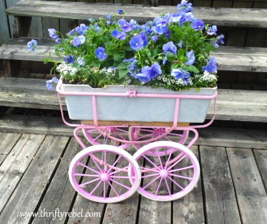 Repurpose a doll carriage into a planter