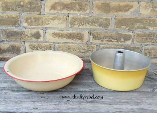 Vintage red enamel bowl