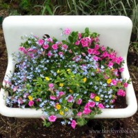 Repurposed Vintage Sink Planters