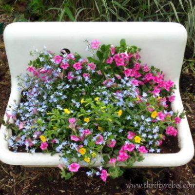 Repurposed Vintage Sink Planters