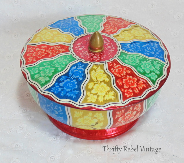 Vintage Floral Lazy Susan Cookie Tin