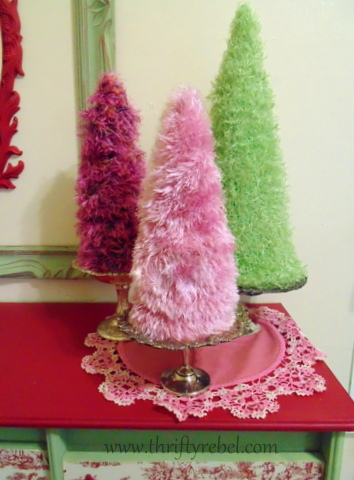 scarf trees for Christmas repurposed scarf projects