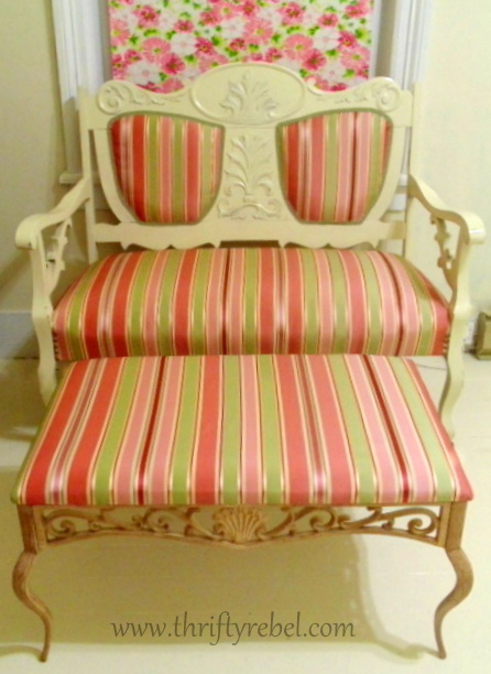 Thrifted-Settee-and-Ottoman-Set