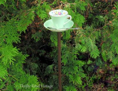 Repurposed Teacup bird feeder