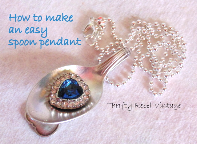 How to make an easy spoon pendant thrifty rebel vintage how to make a spoon pendant mozeypictures Images