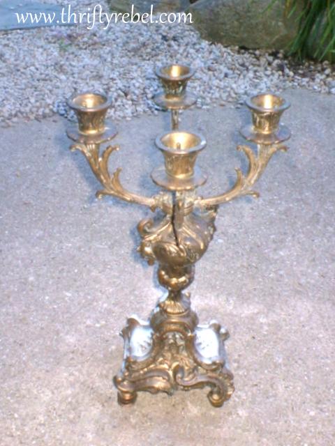vintage teacup candelabra makeover