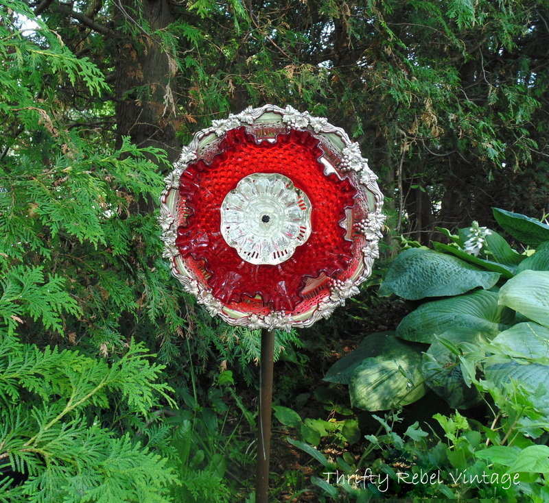 Red and Silver Garden Plate Flower