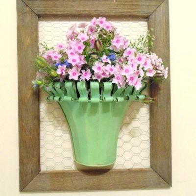 Vintage Metal Planter Wall Vase