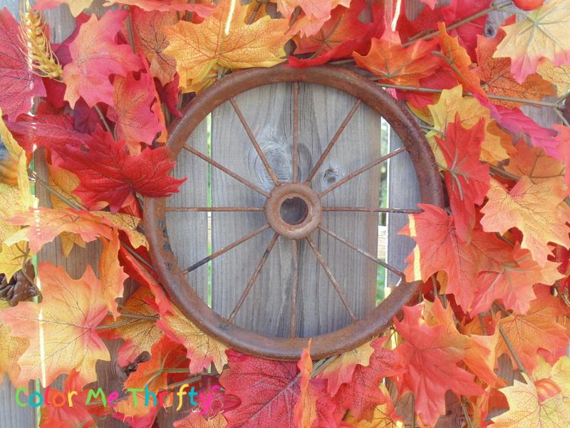 fall wreath from repurposed wheel