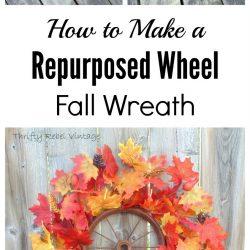 Repurposed rusty wheel fall wreath