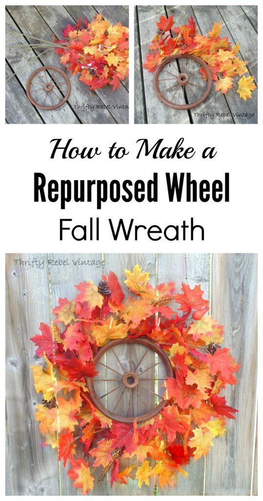 Repurposed rusty wheel fall wreath