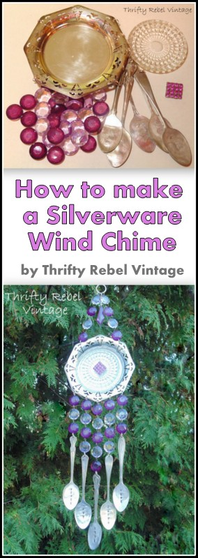 purple bead and silverware wind chime