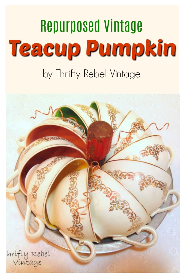 Repurpose teacups into a quick and easy diy pumpkin for a fun table centerpiece or part of a festive fall display.
