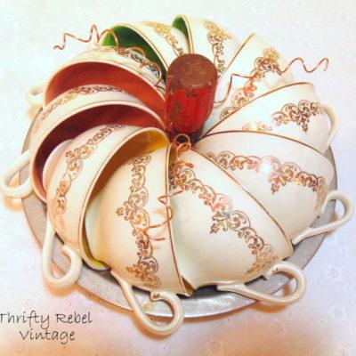 Vintage Repurposed Teacup Pumpkin