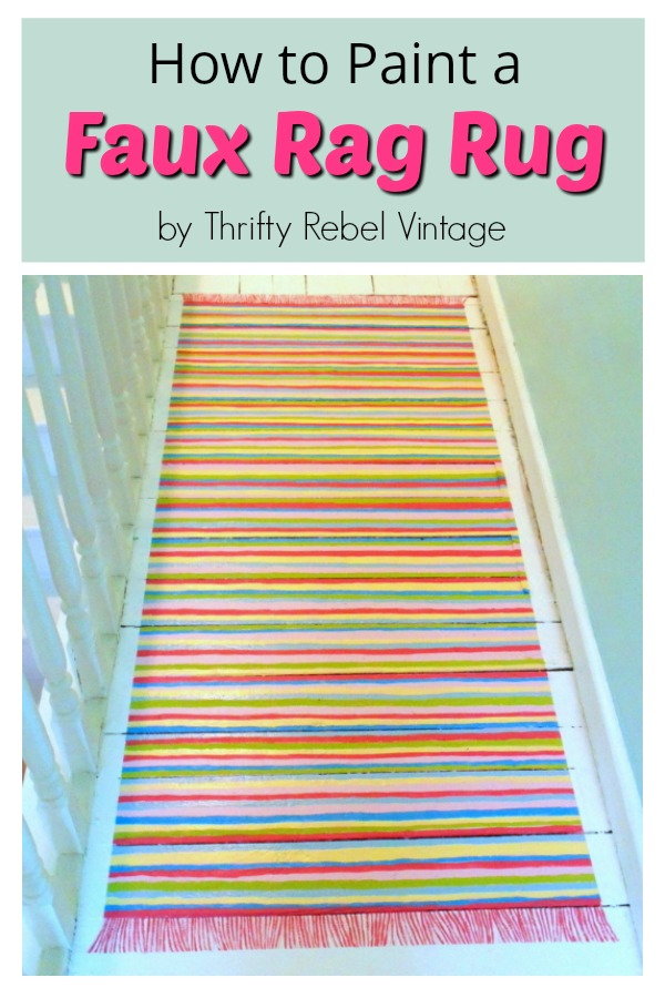 Create a faux rag rug on your floor with leftover paints