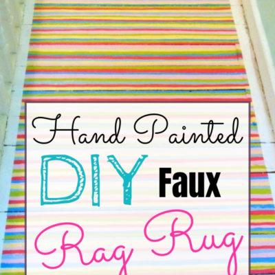 Faux rag rug hand painted on wooden floor
