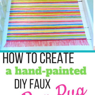 Hand painted diy faux rag rug