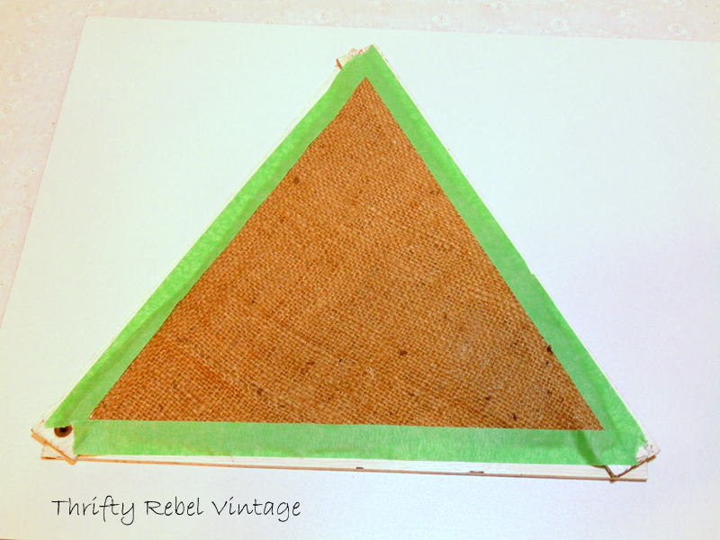 taping burlap onto back of Folding Ruler Christmas Tree
