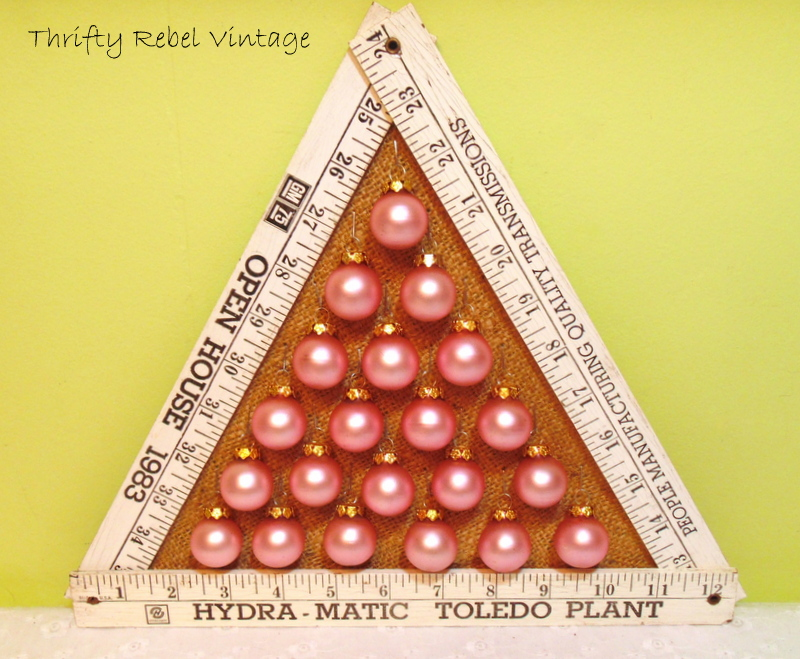 Repurposed Folding Ruler Christmas Tree with burlap back and miniature hanging ornaments