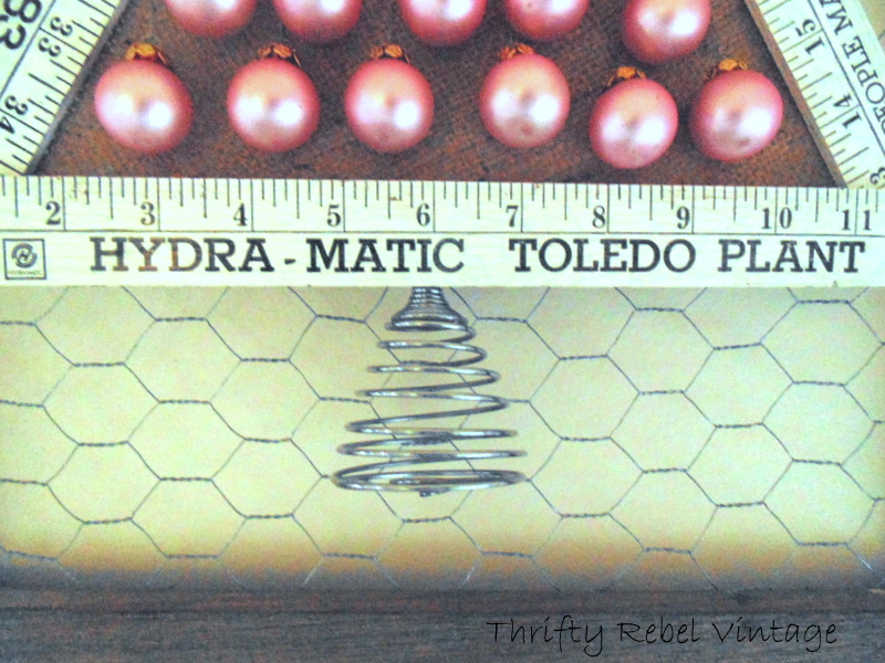Spiral egg beater used as trunk of Folding Ruler Christmas Tree