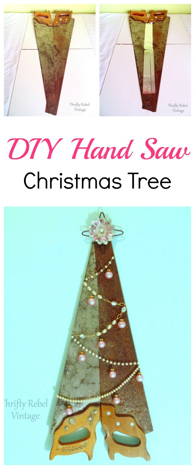 DIY Repurposed Hand Saw Wall Christmas Tree