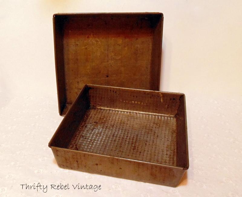repurposed vintage baking pan gift box