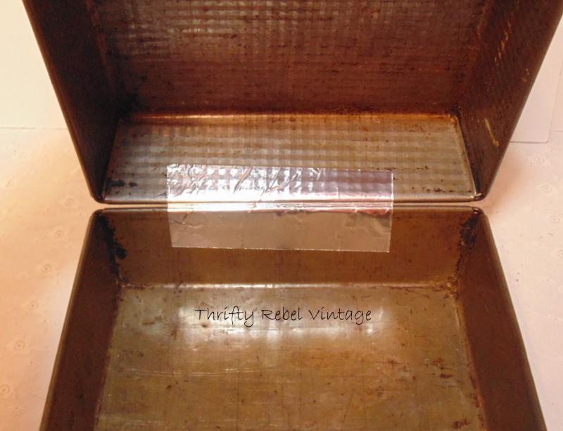Making a repurposed baking pan gift box / Thrifty Rebel Vintage
