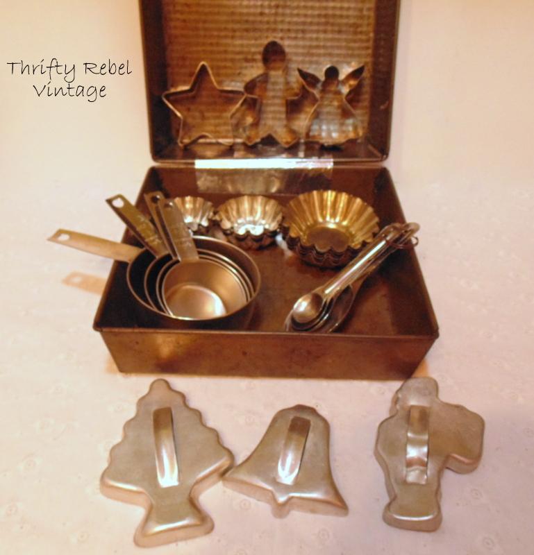 Filling a repurposed vintage baking pan gift box with baking supplies