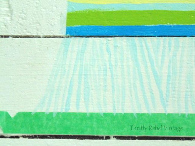 Painting light colour fringe on faux rag rug