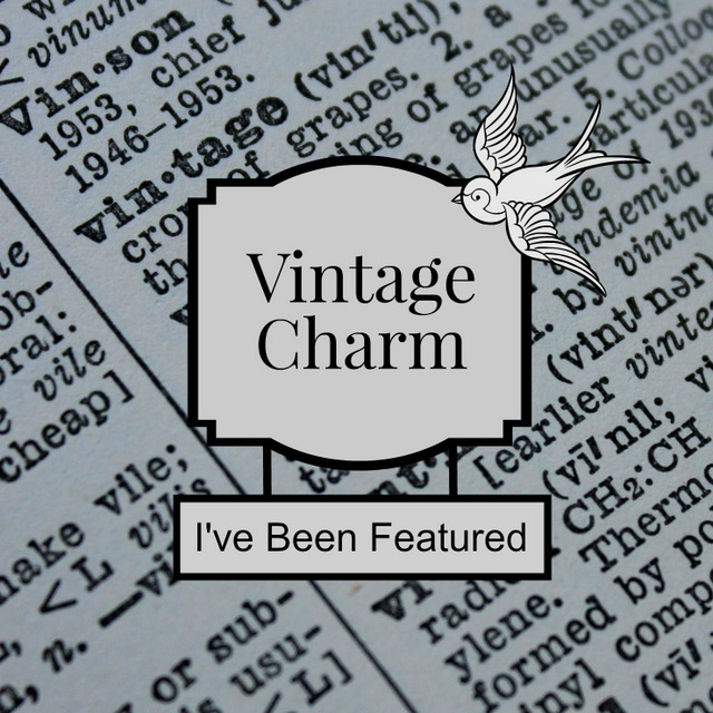 vintage charm I've been featured button