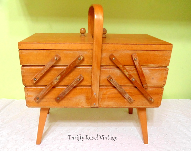 Vintage Wooden Accordion Sewing Box
