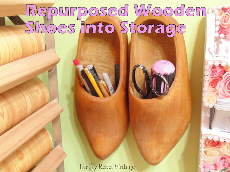 repurposed wooden shoes for storage