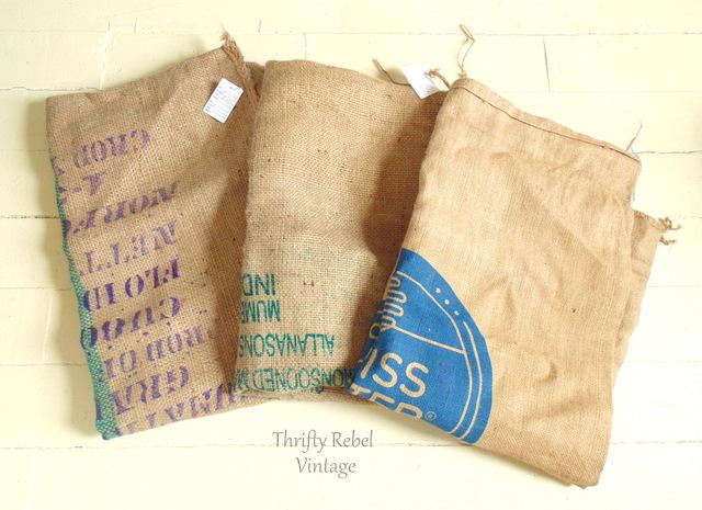 3 burlap bags