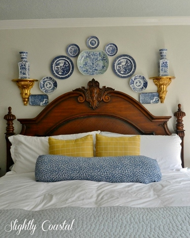 Blue-and-White-Plates-Above-Bed-for-a-Coastal-Feel Feature #16