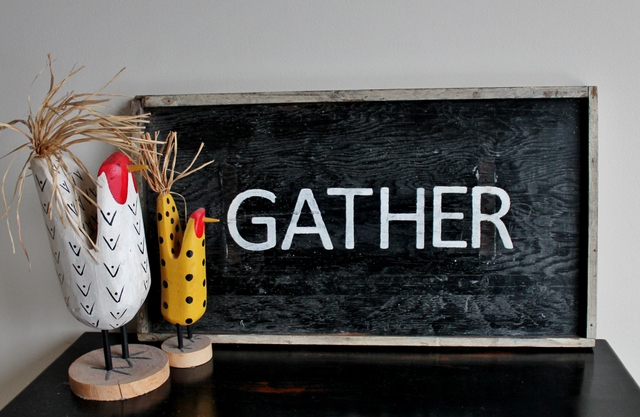 Vintage Gather sign with chickens