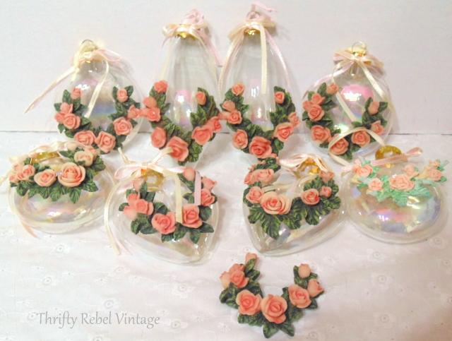 ceramic rose glass ornaments