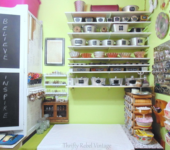 repurposed baking pans craft room storage