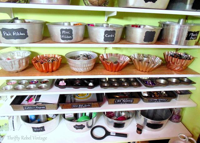 repurposed bakeware craft room storage