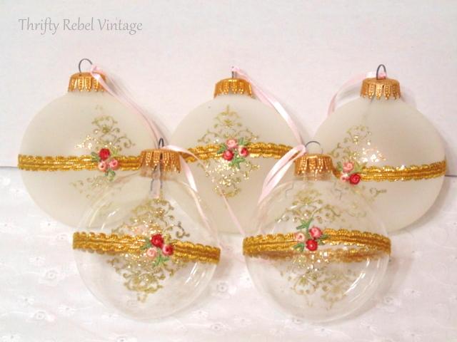 rose glass ornaments