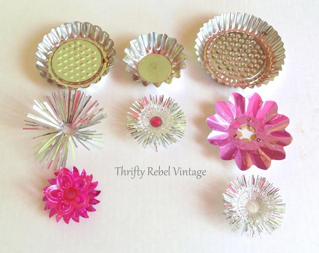 Repurposed cupcake stand flower art