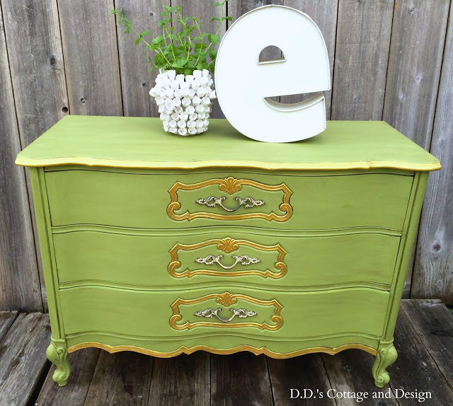 painted green and gold dresser