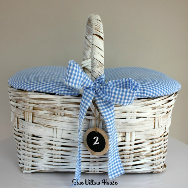 Picnic Basket with Rag Ribbon Bow