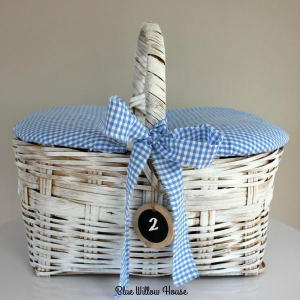 Picnic Basket with Rag Ribbon Bow