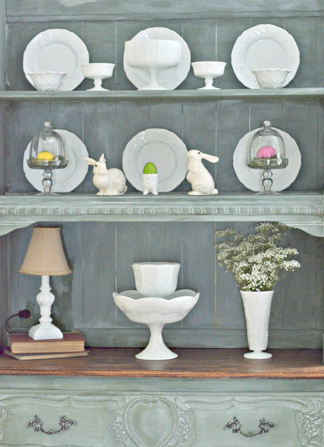Slightly Coastal Spring-Hutch-with-Easter-and-Bunny-accessories