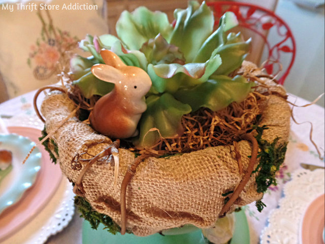bunny in a cabbage centrepiece