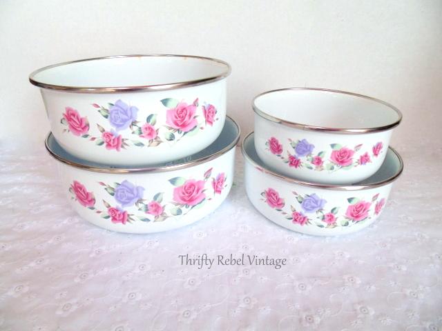 floral enaml bowl set