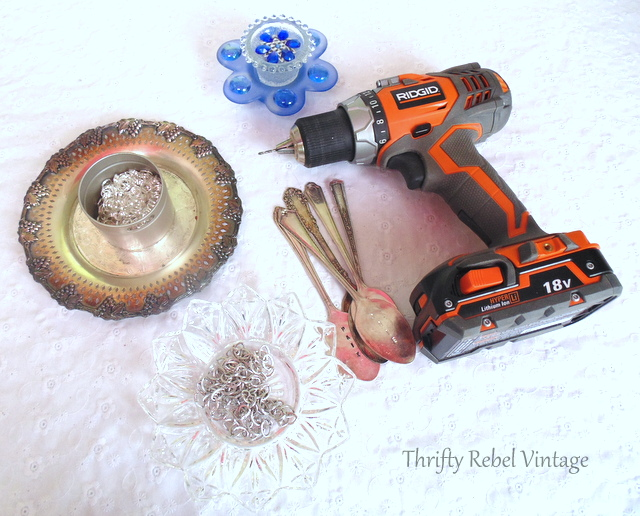 Supplies for making garden plate flower wind chime