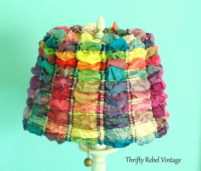 repurposed scarf lampshade makeover
