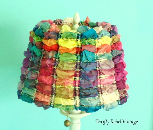 repurposed scarf lampshade makeover