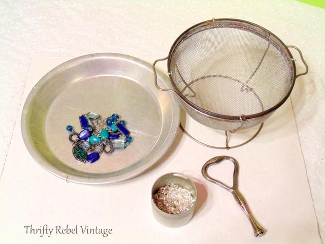 supplies to make vintage sieve bird feeder